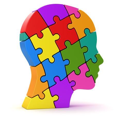 人間の頭は、カラフルなパズルのピース、3 d コンピューターで生成された画像です。白で隔離。