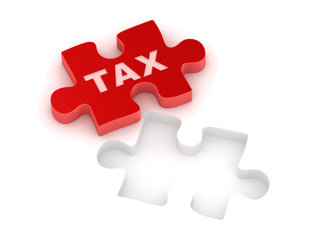 red puzzle piece: Tax concept with red puzzle piece. This is a 3d computer generated image. Isolated on white. Stock Photo