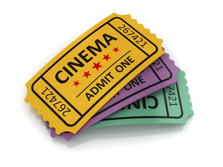 cinema ticket: Old cinema ticket. This is a 3d computer generated image. Isolated on white.