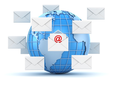 E-mail concept with world and envelope , This is a 3d computer generated image. Isolated on white.