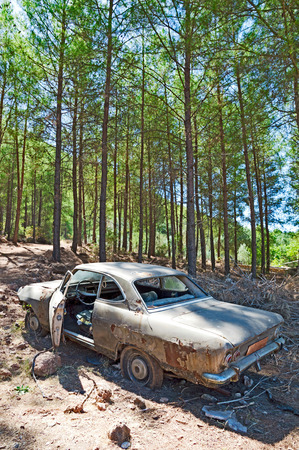 abandoned car: Photo of Abandoned Car in Forest. Stock Photo