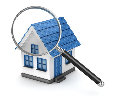 searching: House with magnifier on white background  , This is a 3d computer generated image. Isolated on white. Stock Photo