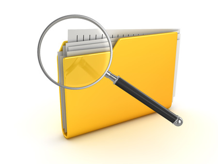 Yellow folder and magnify glass , This is a 3d rendered computer generated image. Isolated on white.