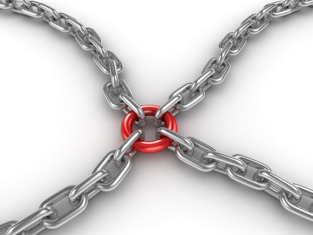 fastened: Chain fastened by a red ring , This is a 3d rendered computer generated image. Isolated on white.
