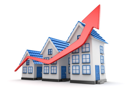 Graph of housing market , This is a 3d rendered computer generated image. Isolated on white. Stock Photo