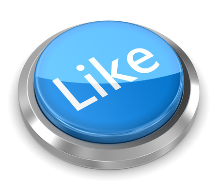 like button: Blue like button , This is a 3d rendered computer generated image. Isolated on white. Stock Photo