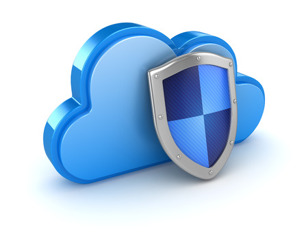 Cloud with shield , This is a 3d rendered computer generated image. Isolated on white. Stock Photo