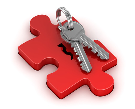 red puzzle piece: Red puzzle piece and key , This is a 3d rendered computer generated image. Isolated on white. Stock Photo