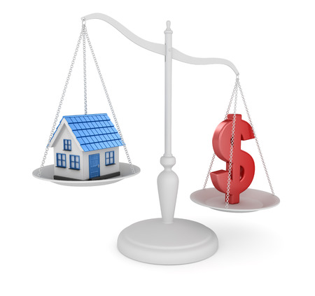 House and dollar symbol balancing  , This is a 3d rendered computer generated image. Isolated on white.