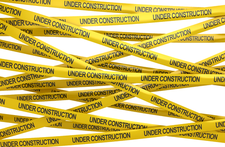 cordon: Under construction concept , This is a 3d rendered computer generated image. Isolated on white. Stock Photo
