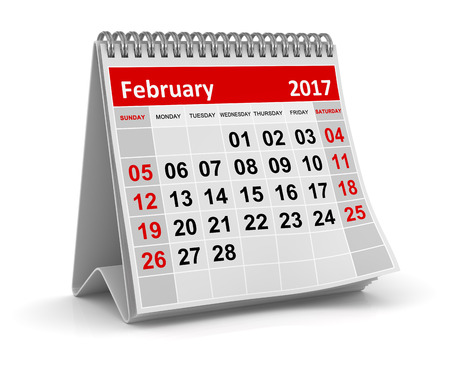 Calendar - February 2017 , This is a 3d rendered computer generated image. Isolated on white.