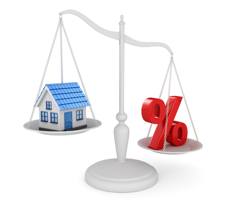 mortgage rates: House and percentage symbol balancing , This is a 3d rendered computer generated image. Isolated on white.