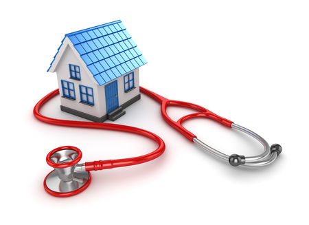 stethascope: Blue House and Red Stethoscope , This is a 3d Rendered Computer Generated Image. Isolated on White. Stock Photo
