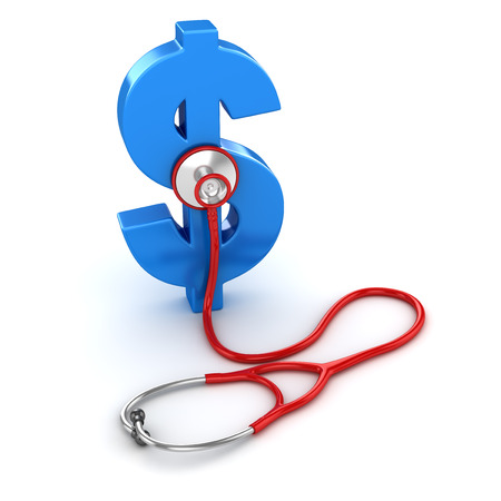 Blue Dollar Symbol and Red Stethoscope , This is a 3d Rendered Computer Generated Image. Isolated on White.