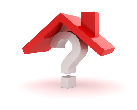 House Roof on Question Mark , This is a 3d Rendered Computer Generated Image. Isolated on White.
