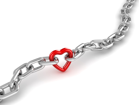 Chrome Chain Connected with Heart , This is a 3d Rendered Computer Generated Image. Isolated on White.