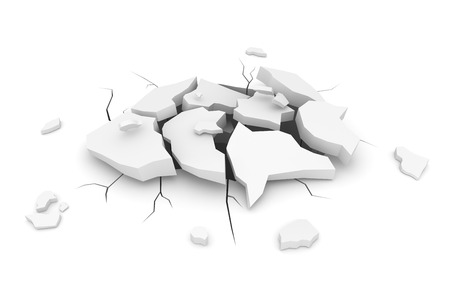 Cracked White Ground , This is a 3d Rendered Computer Generated Image. Isolated on White. Banco de Imagens - 82095566