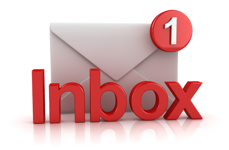 Inbox Concept with Envelope , This is a 3d Rendered Computer Generated Image. Isolated on White. Stock Photo