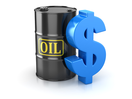 Oil Barrel and Dollar Sign , This is a 3d Rendered Computer Generated Image. Isolated on White. Stock fotó