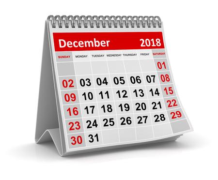Grudzień 2018, to jest 3d renderowany obraz generowany komputerowo. Na białym tle. Zdjęcie Seryjne