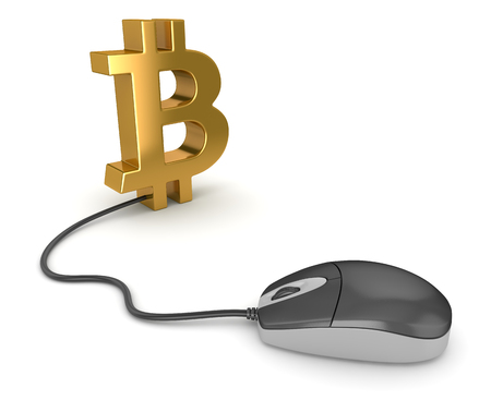 Bitcoin Symbol and Computer Mouse , This is a 3d rendered computer generated image. Isolated on white. Stock Photo