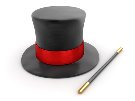Magician Hat and Wand , This is a 3d rendered computer generated image. Isolated on white.