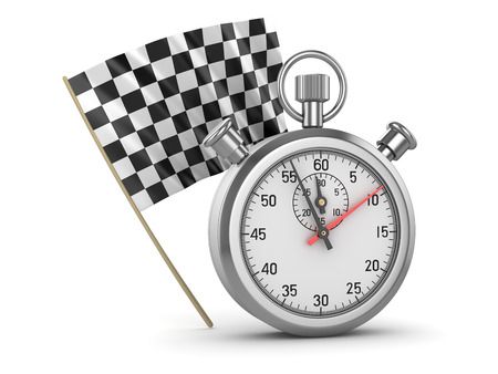 Checkered Flag and Stopwatch , This is a 3d rendered computer generated image. Isolated on white. Stock Photo