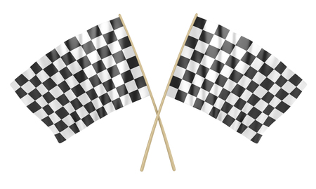 Two Checkered Flag , This is a 3d rendered computer generated image. Isolated on white. Stock Photo