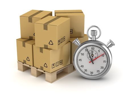 Cardboard on Pallet and Stopwatch , This is a 3d rendered computer generated image. Isolated on white. Archivio Fotografico