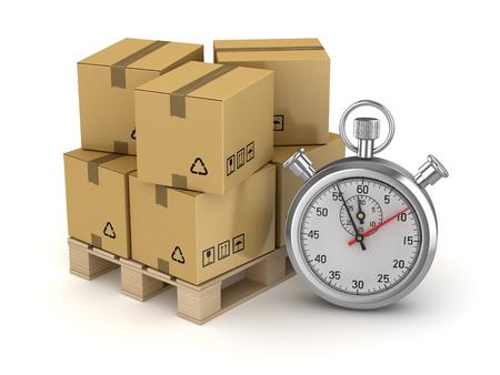 Karton op pallet en chronometer, dit is een 3D-gerenderde computer gegenereerde afbeelding. Geïsoleerd op wit.