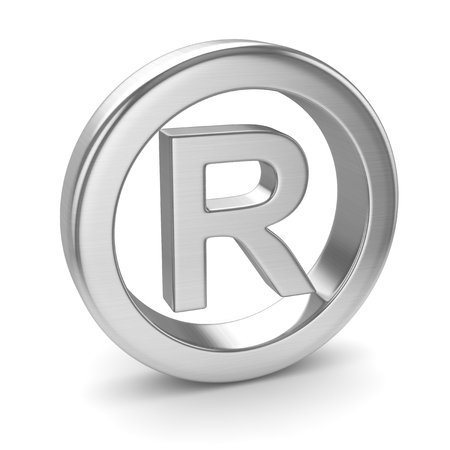 Chrome Registered Trade Mark , This is a 3d rendered computer generated image. Isolated on white.