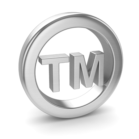 Chrome Trademark Icon , This is a 3d rendered computer generated image. Isolated on white.