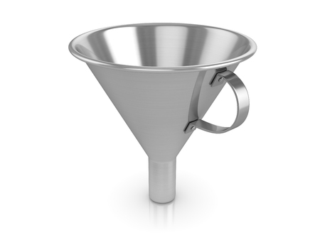 3d Chrome Funnel , This is a 3d rendered computer generated image. Isolated on white.