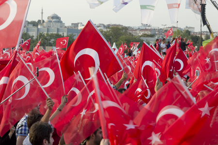 Istanbul, TURKEY - September 20, 2015: Millions of breaths, one voice against terror rally in Zeytinburnu-Istanbul. Editöryel
