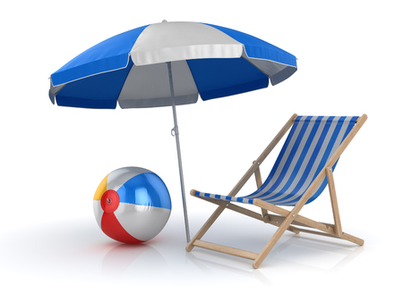 Beach Ball , Chair and Umbrella , This is a 3d rendered computer generated image. Isolated on white.