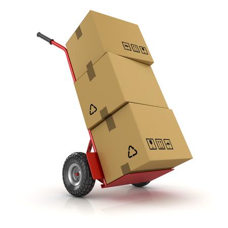 Paquet de camion à main et de carton, il s'agit d'une image générée par ordinateur en rendu 3D. Isolé sur blanc.