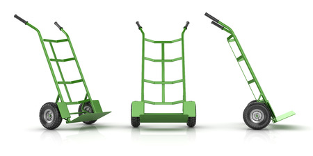 Green and Empty Hand Truck , This is a 3d rendered computer generated image. Isolated on white.