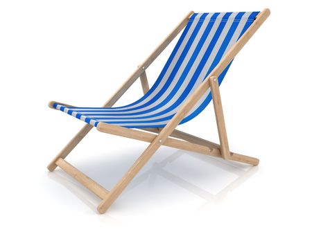 Blue Beach Chair , This is a 3d rendered computer generated image. Isolated on white. Stock Photo