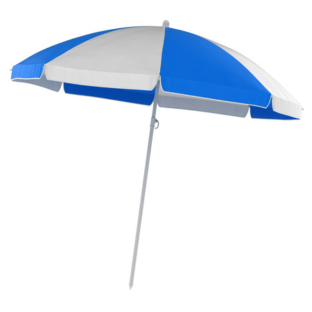 Blue Beach Umbrella , This is a 3d rendered computer generated image. Isolated on white.