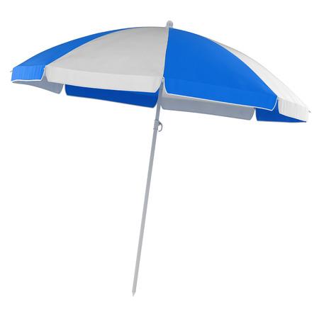 Parapluie de plage bleu, il s'agit d'une image générée par ordinateur en rendu 3D. Isolé sur blanc.