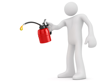 White Man Holding Red Oil Can isolated on white.