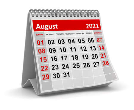 August 2021, This is a 3d rendered computer generated image. Isolated on white.