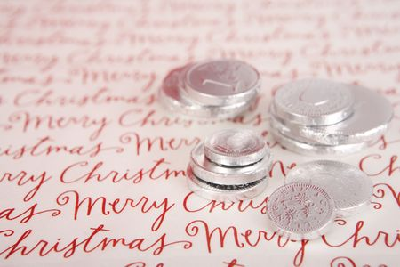 hanukah: Chocolate Hanukah gelt, silver coins