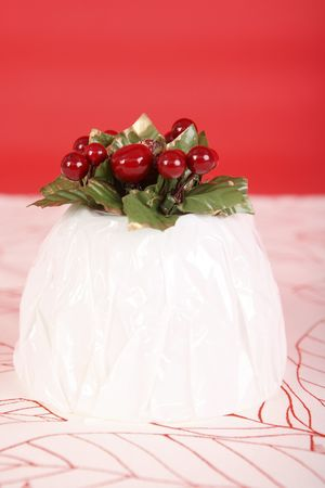 christmas pudding: Wrapped christmas pudding Stock Photo