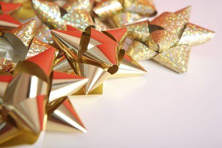 Golden  bows Stock Photo