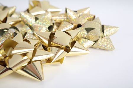 Golden  bows Stock Photo