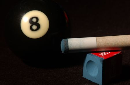 snooker cues: Billiards,Cue and eight ball Stock Photo