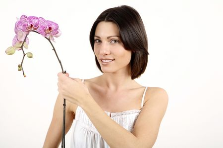 Woman holding orchid Stock Photo - 2966115