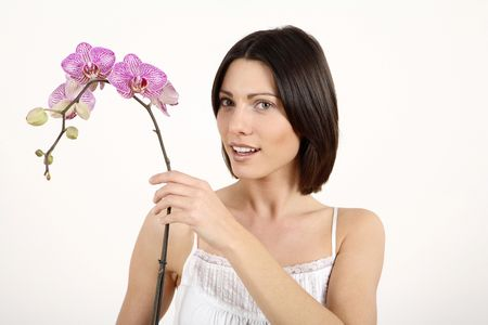 Woman holding orchid Stock Photo - 2966116