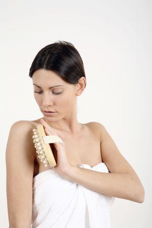 fregando: Mujer lavado de su cuerpo